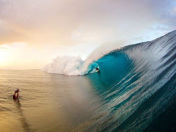Surfing Teahupoo, French Polynesia: