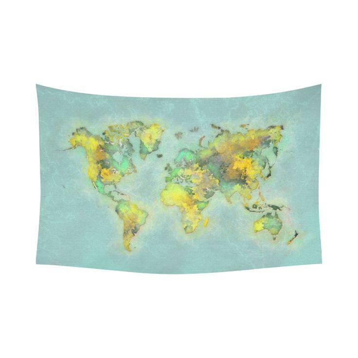 """world map green #map #worldmap Cotton Linen Wall Tapestry 90""""x 60"""""""