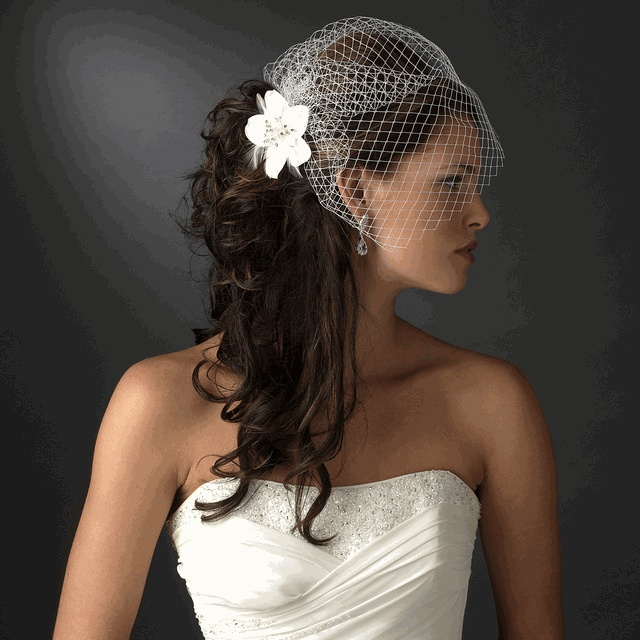 Flower Feather Accented Bridal Hair Pin - White or Ivory
