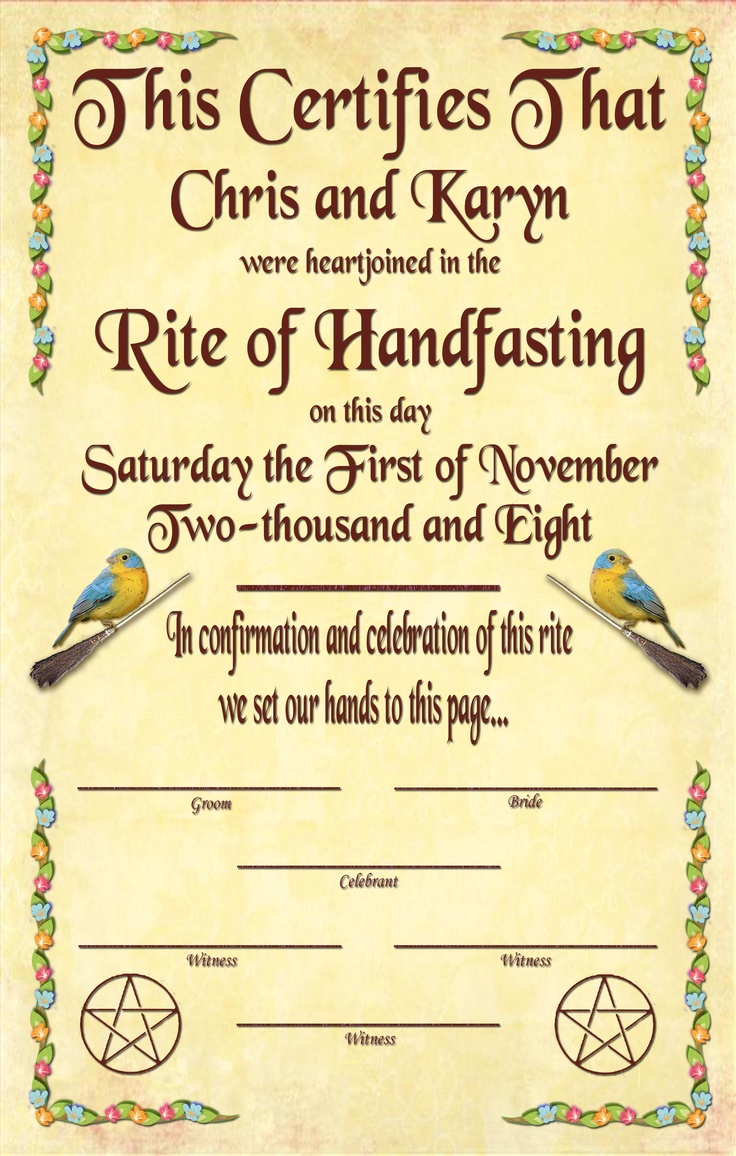 handfasting certificate free - Google Search | For Our ...