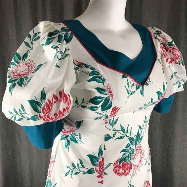 T&L Muumuu Factory Hawaiian Dress 11/12 Cereus Flowers Aloha White Red Green USA | eBay