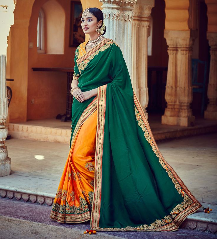 We Brings You One Of The #Best And #Latest Of Our #Creations In Which Come In #Bright And #Vibrant, #Beautiful #IndianEthnic #Saree. Shop Now :- http://www.lalgulal.com/sarees/dazzling-taffy-silk-tussar-silk-fabric-wedding-saree-in-green-orange-color-1112 Get 10% #Discount on First Shopping #FreeShipping & #CashOnDelivery In India E-mail us for any query: info@lalgulal.com or Call us at: +91 95121 50402. #Weddingsaree #Bridalsarees #Wedding #Bridemaid #Banarsisarees #Embroidery…