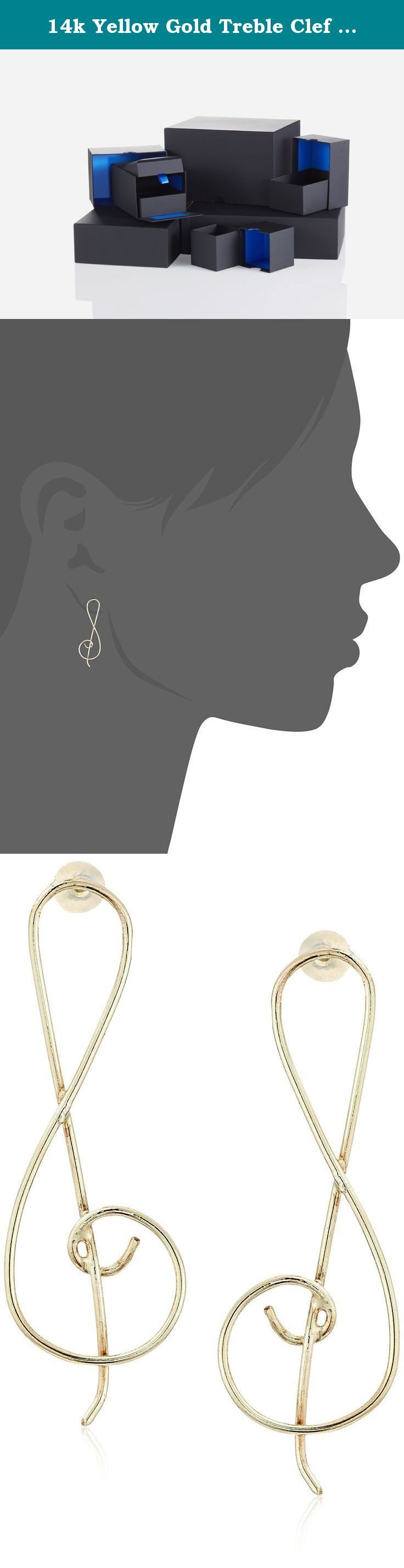 14k Yellow Gold Treble Clef Earrings. Made in Indonesia.