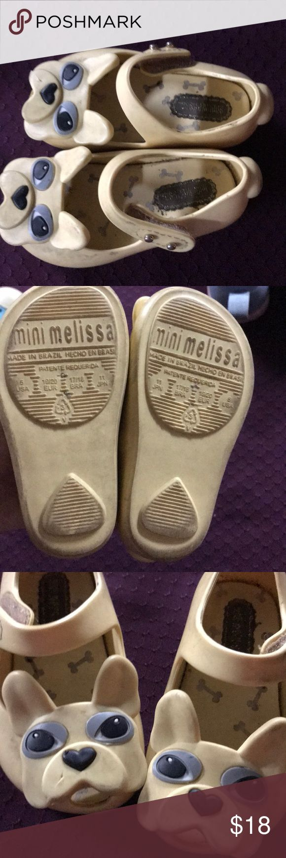Bulldog Mini Melissa peep toe Mary Janes Cream colored Bulldog Mini Melissa peep toe Mary Janes   Adorable. Size 5 but I think they run a little small. So 4.5?  Title tooth mark on the one dog right shoe face bc of our dog. 😂 Mini Melissa Shoes Dress Shoes
