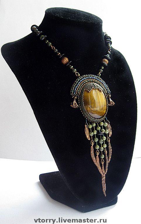 """Купить Кулон """"Хуракан"""" - украшения, кулон, этно, этнические украшения, синий, бронзовый, зеленый"""