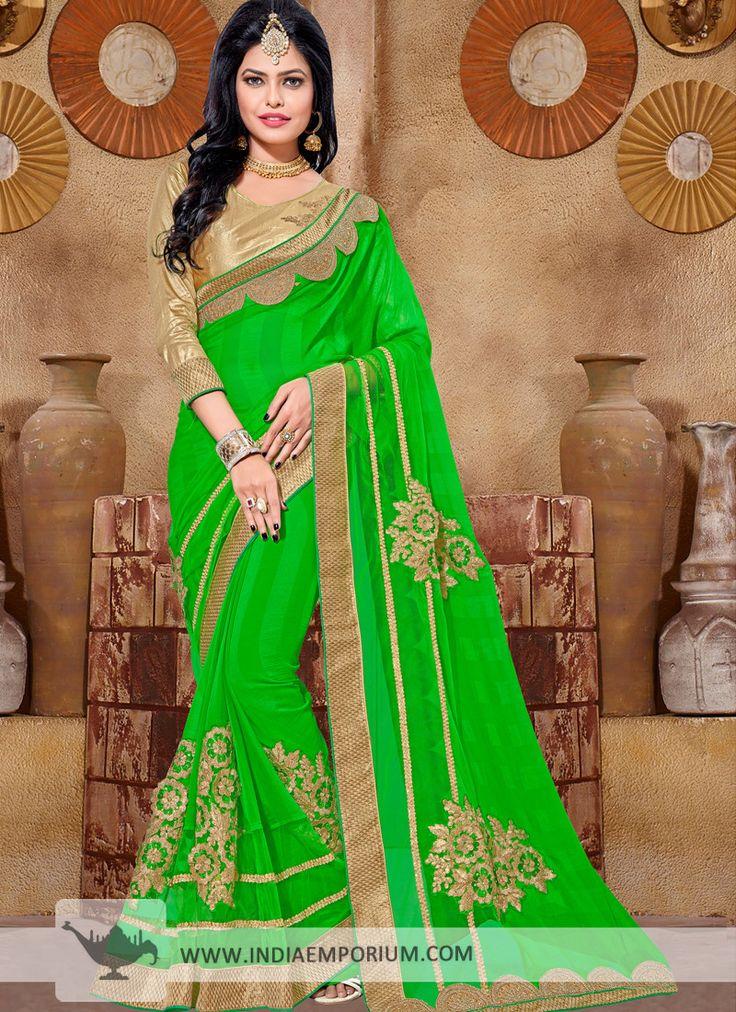 Smashing Green Chiffon Based Saree with Embroidery Work