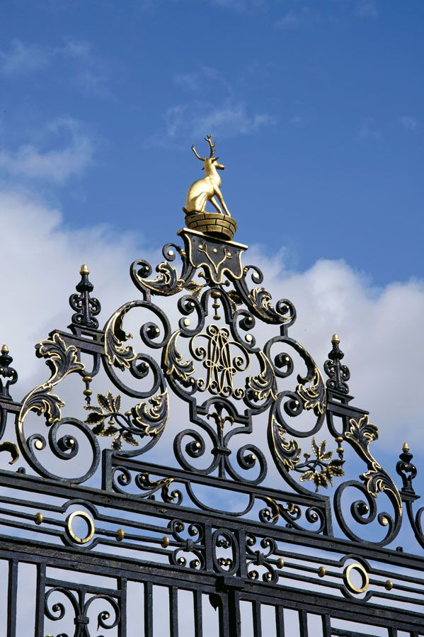 Intricate detail on the gate to Hall Place