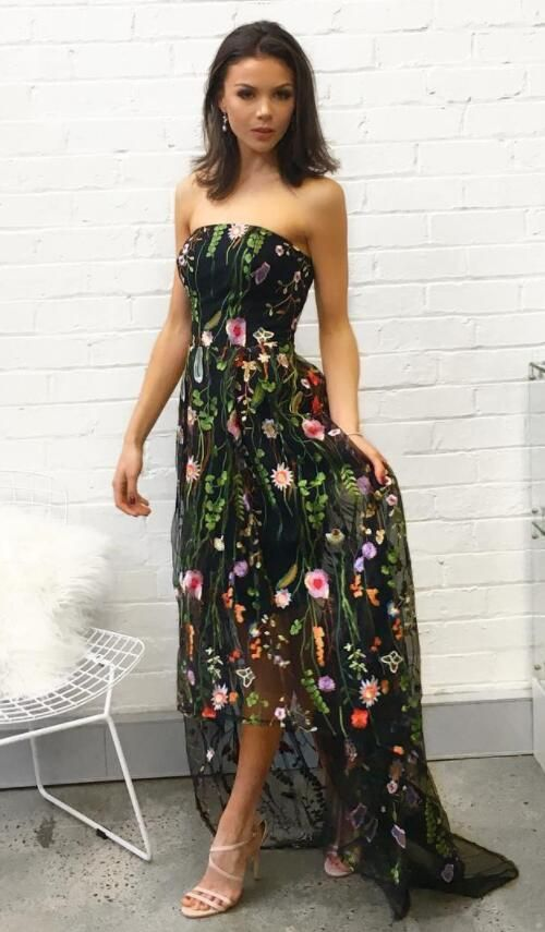 Embroidered Flower Prom Dress
