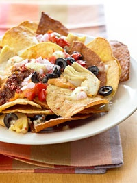 Mediterranean Nachos - I would use pita chips instead of corn tortilla chips though.