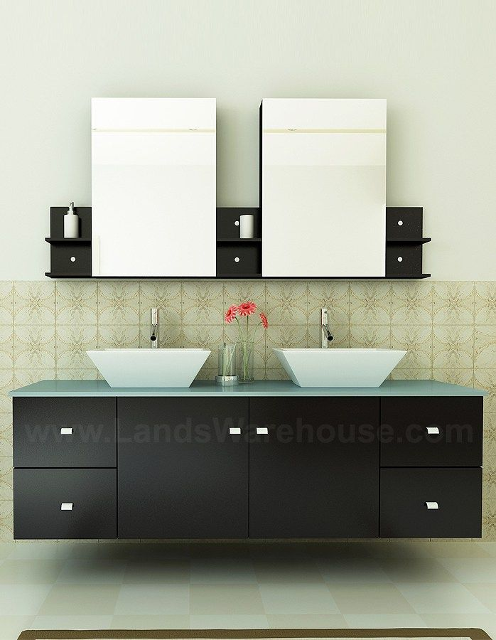 Clarissa 72 Inch Modern Espresso Bathroom Vanity Glass Top MD 409G By Virtu  USA
