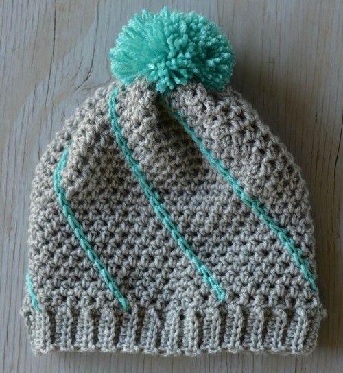 Diagonální Hatch Slouchy Hat - zdarma vzor