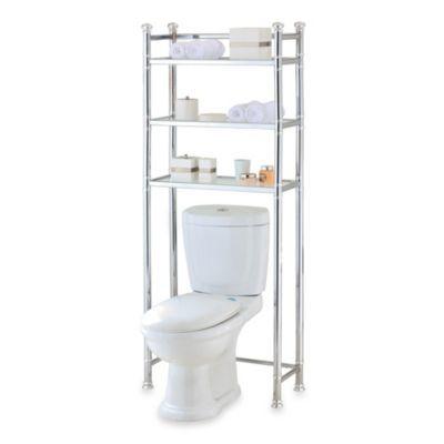buy no tools chrome glass bathroom space saver from bed bath rh pinterest com Bed Bath and Beyond Kitchen Corner Shelves Bathroom Corner Glass Shelf
