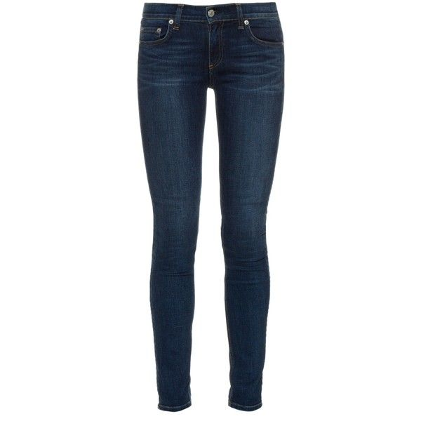 Rag & Bone Mid-rise skinny jeans ($269) ❤ liked on Polyvore featuring jeans, pants, bottoms, pantalones, indigo, lined jeans, super skinny jeans, skinny fit jeans, skinny jeans and faded jeans