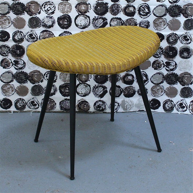 Vintage Lloyd Loom Stool In Curry Yellow