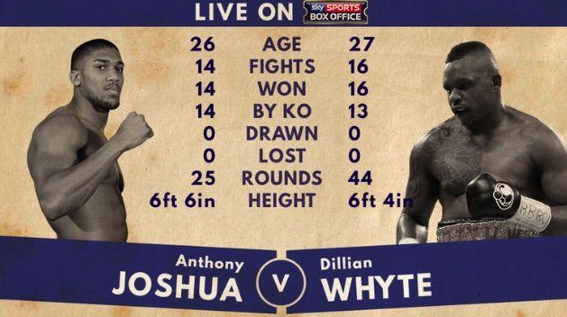 Anthony Joshua v Dillian Whyte on 12 December 2015