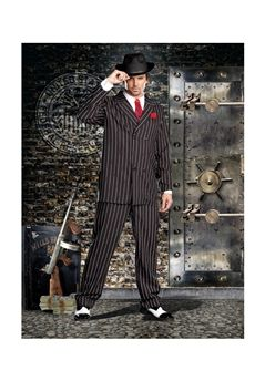 Black and white pinstripe double breasted gangster suit. Includes a dickie, machine gun screen-printed tie, carnation pin and hat. (Shirt not included.) (6 piece set)