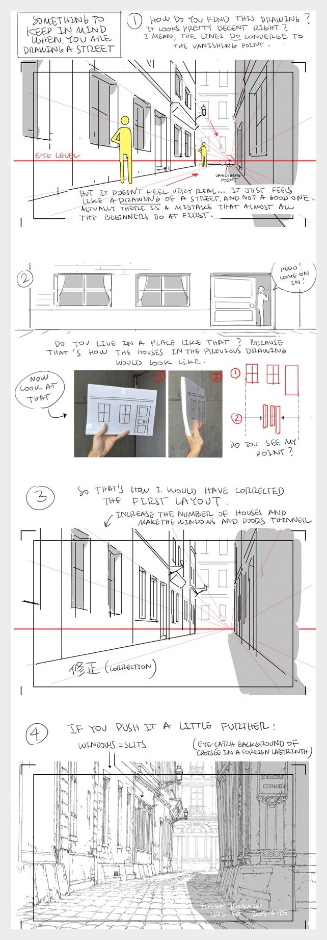 How to draw a street - by Thomas Romain (one of the few foreigners working in the anime industry in Japan)