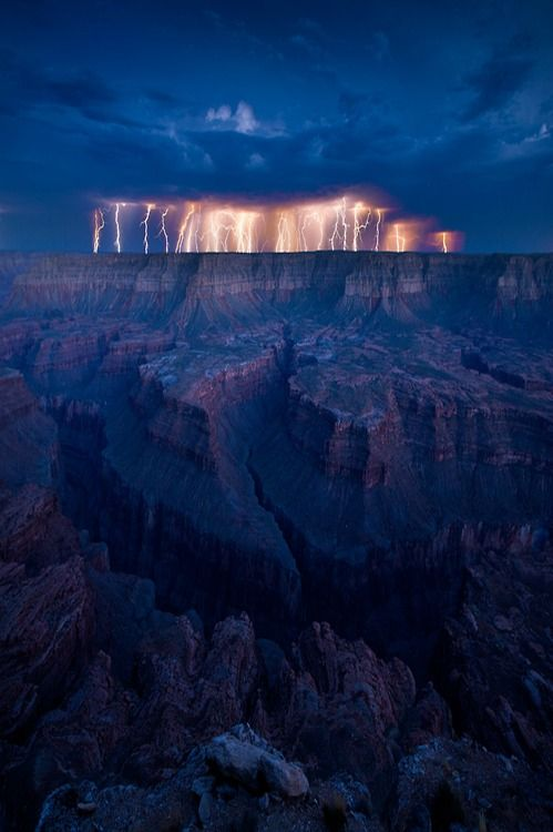 Grand Canyon during a lightning storm.