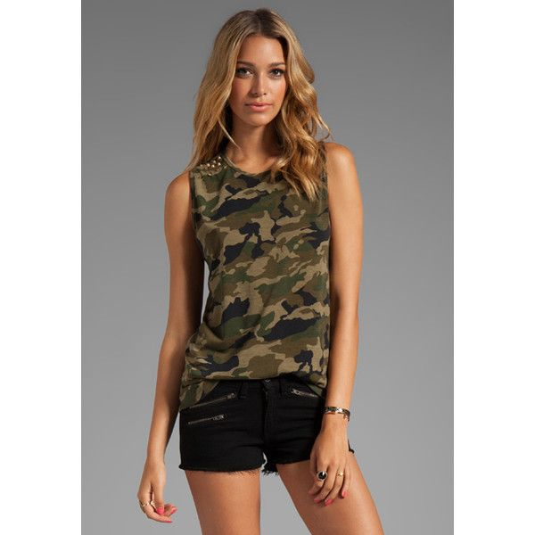 Lovers + Friends for REVOLVE Jamie Muscle Tank (169.590 COP) ❤ liked on Polyvore featuring tops, camo, camo tops, camouflage tank top, camoflauge tank top, camo tank top and camouflage tops