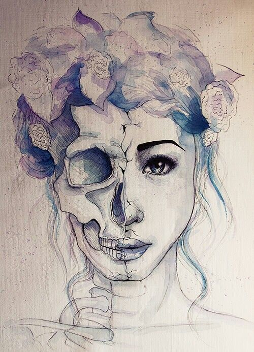 Half skull half face (I want the girls screaming)  add a mask and some roses