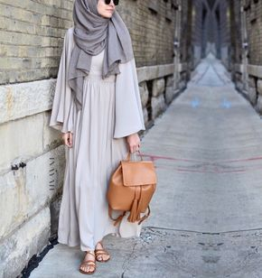 INAYAH | Stone Maxi Dress with Binding Detail + Ash Modal Hijab - www.inayah.co