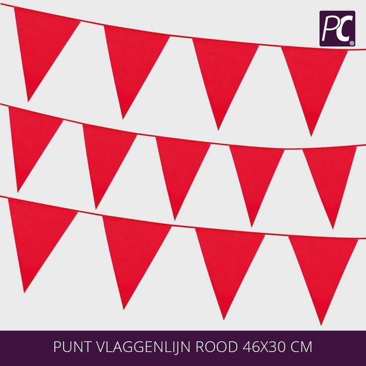 Punt vlaggenlijn rood van 10 meter lang, deze punt vlaggenlijn rood heeft 18 puntvlaggen van 46x36 en is kleur vast de dikte van de vlaggenlijn is 0,08 mm.