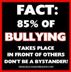 Oh so true!!! If you are a bystander you are just as guilty!