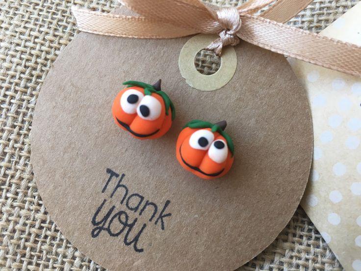 Cute fimo pumpkin earrings - Handmade halloween jewellery  Available at:  https://www.etsy.com/ca/listing/478159993/pumpkin-stud-earrings-halloween-jewelry