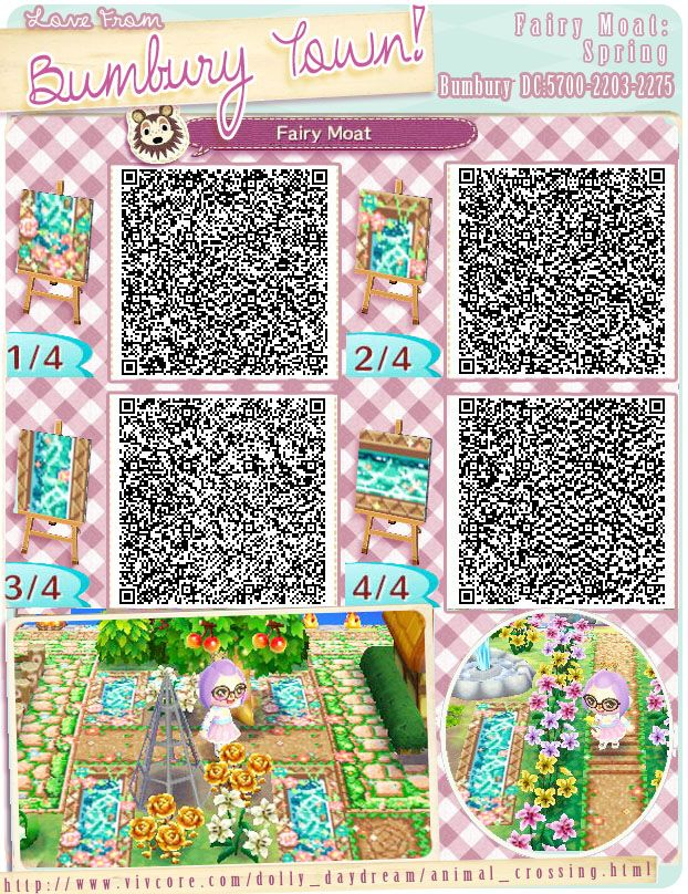 Water flower animal crossing new leaf qr codes paths for Acnl boden qr codes