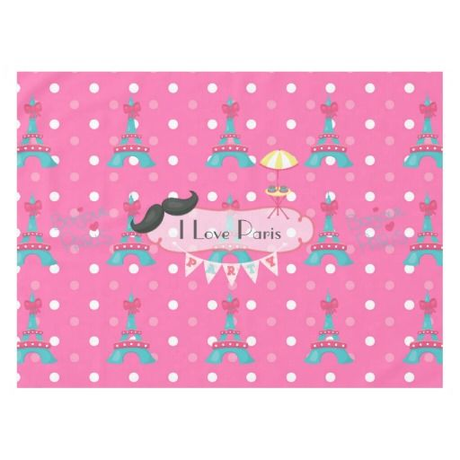 Girl's Pink Paris Theme Birthday Party Personalize Tablecloth