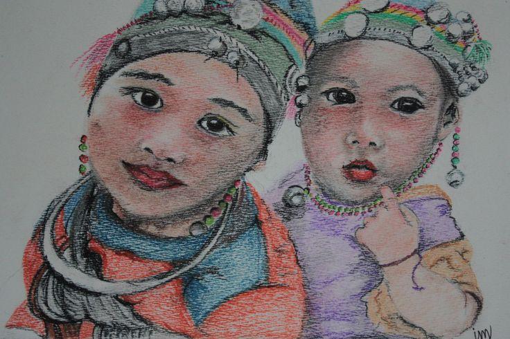 aziatische kinderen - pastel
