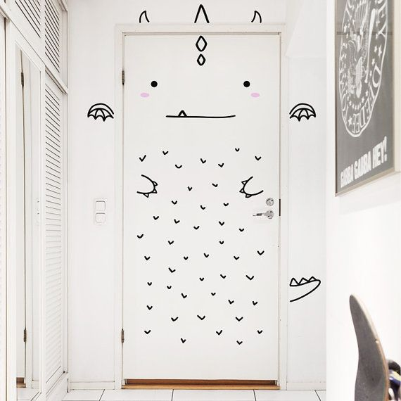 Aaron le décalque charmant Dragon porte / Wall decal pour portes, fenêtres ou placards / Nursery décor / Sticker vinyle Dragon / dinosaure