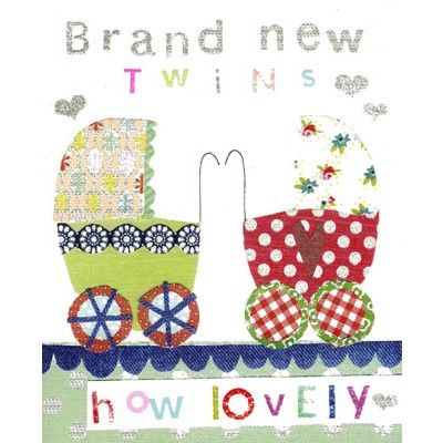 New baby twins card illustrated with two sparkly prams in green and red.  Priced at £2.25