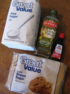 vanilla sugar hand scrub- to make for gifts 1 cup white sugar 1 cup lightly packed brown sugar 1 cup Olive oil 1 TB Vanilla Extract
