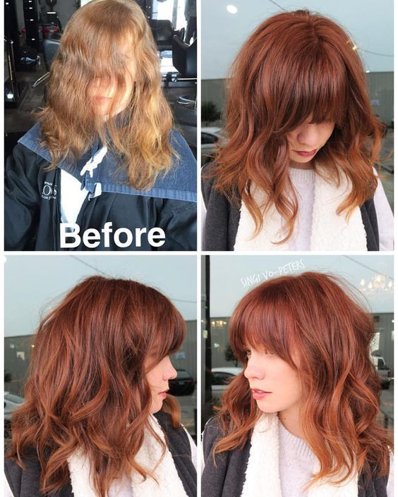 """Curtain bangs and trim. Formula is @schwarzkopfusa vibrance 6-7 copper. Apply zone 1&2 leave off zone 3(ends). Process just 15 minutes. She is a natural level 6."""""""
