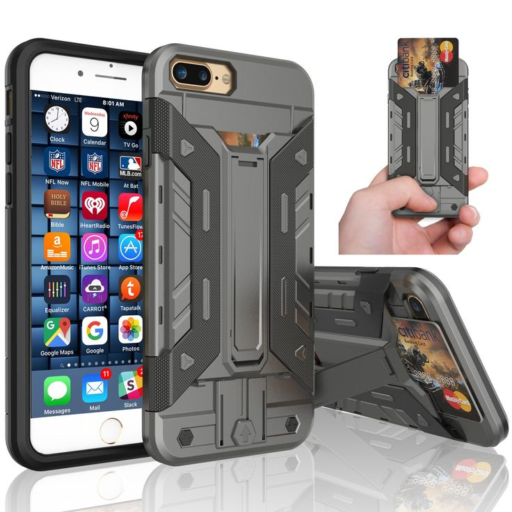iPhone 7 Plus Case, iPhone 7 Plus Wallet Case, Tekcoo™ [Tarmor Series] [Grey] iPhone 7 Plus (5.5 INCH) Case Shock Absorbing Hybrid License ID Card Holder Carrying Protective Cover [Kickstand]. iPhone 7 Plus Case,Tekcoo Tarmor Series Dual Layer Armor Rugged Apple iPhone 7 Plus Wallet Carrying Case ,Perfectly Fit iPhone 7 Plus / iPohne 6 Plus / iPhone 6S Plus. iPhone 7 Plus Carrying Case,Built-in Kickstand Is Used For Watching Video Moive and e-Book. Rubberized Polycarbonate Armor outer…
