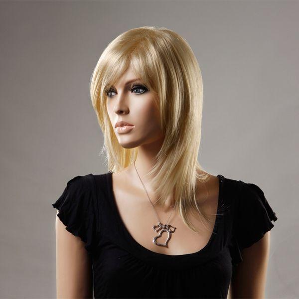 NAWOMI 100 % kanekalon peluca de pelo sintético elegante dama sin tapa longitud mediana lado explosión de oro