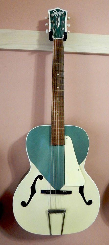 Vintage 1950's Silvertone Archtop Acoustic Electric Guitar Exquisite Art Deco