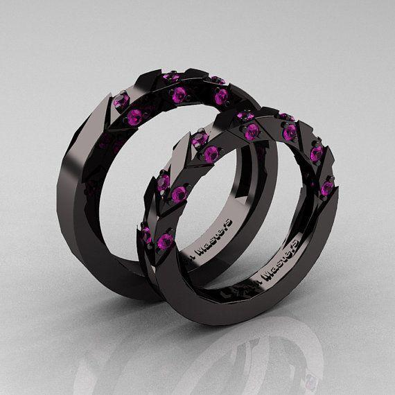 Modern Italian 14K Black Gold Amethyst Wedding by DesignMasters, $2199.00