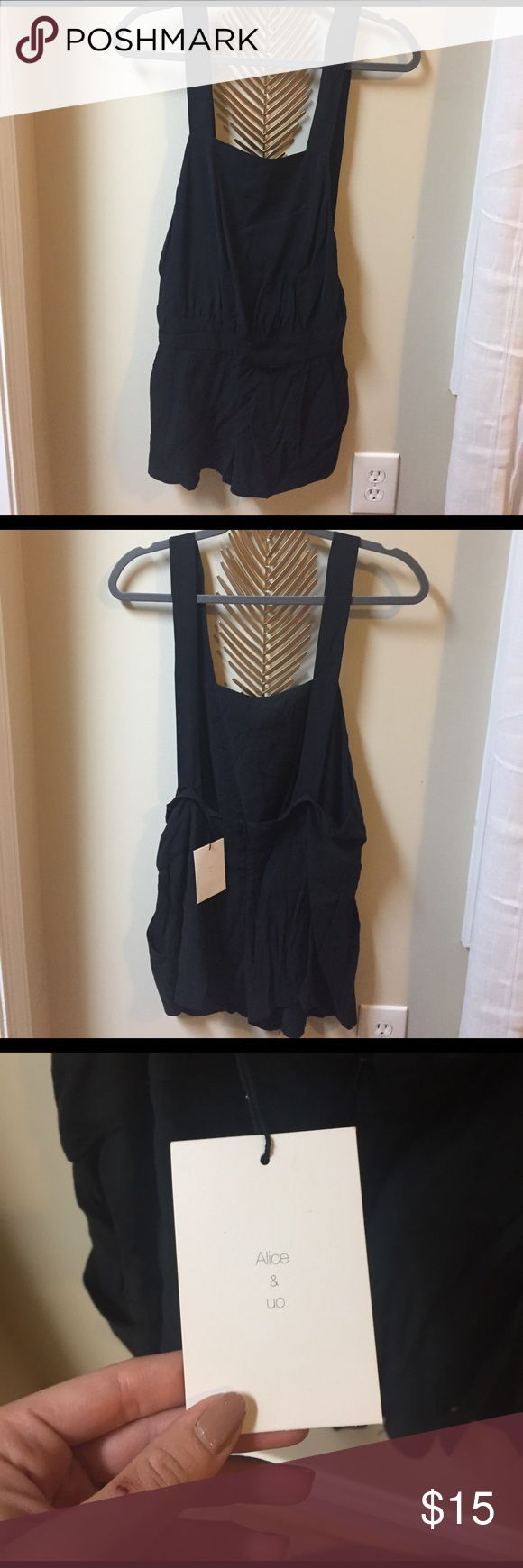 NWT UO Short/overall romper. Size 4. Black with back zipper and clasp. Straps can be adjusted. Would be super cute with bandeau or crop top for festival season. Needs to be ironed LOL alice + UO Other