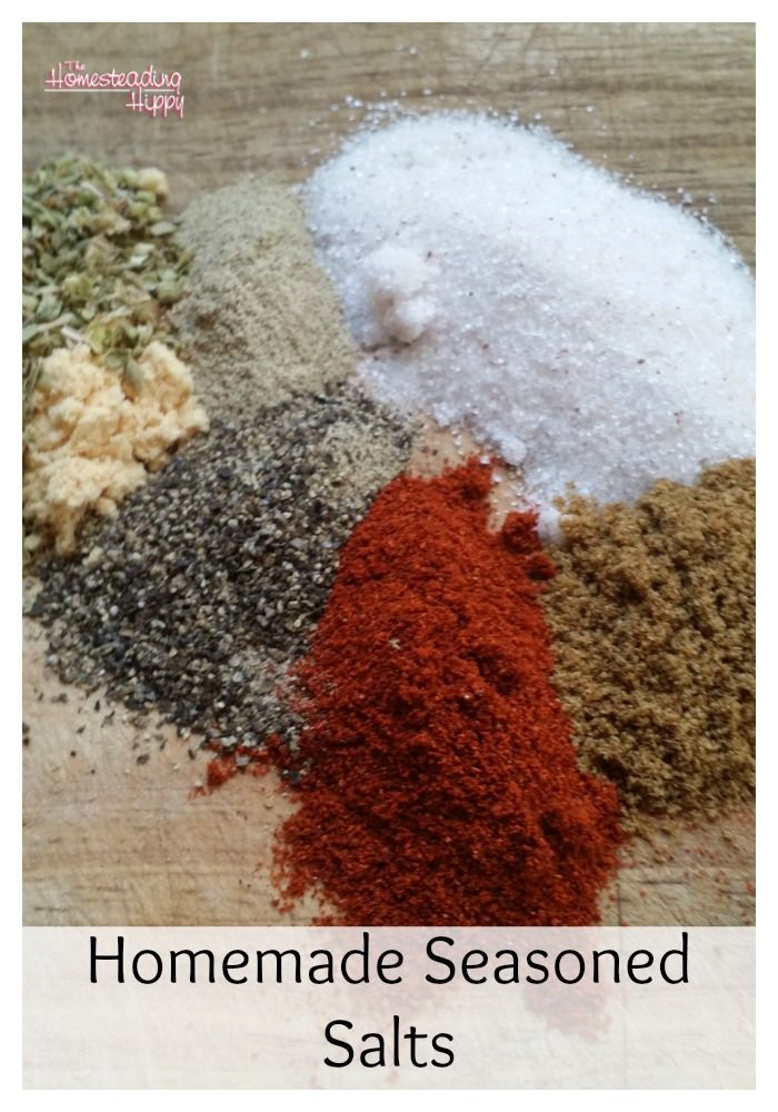 Homemade seasoned salts for all your creative recipe needs~The Homesteading Hippy #homesteadhippy #fromthefarm #recipes