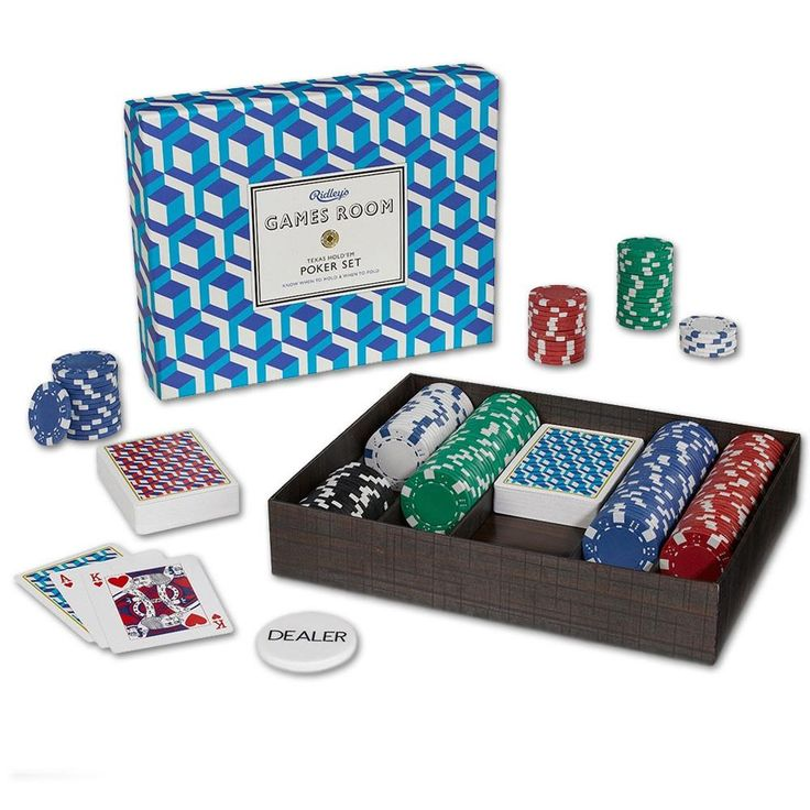 This Texas Hold Em poker set includes a full set of chips and stylish playing cards with a bold graphic print.