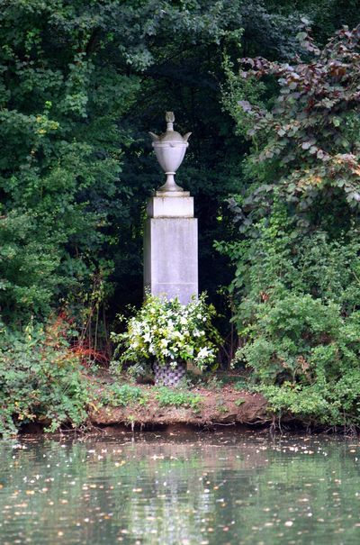 A tribute laid by the Spencer family is seen at Althorp House, Northampton, in memory of Diana, Princess of Wales, on the island where she is buried, 2007