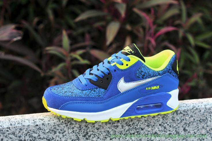promo code 183e2 79a2e nike dunk mi paon - Femmes 307793-409 Bleu Fluorescent Jaune Nike Air Max  90 ...