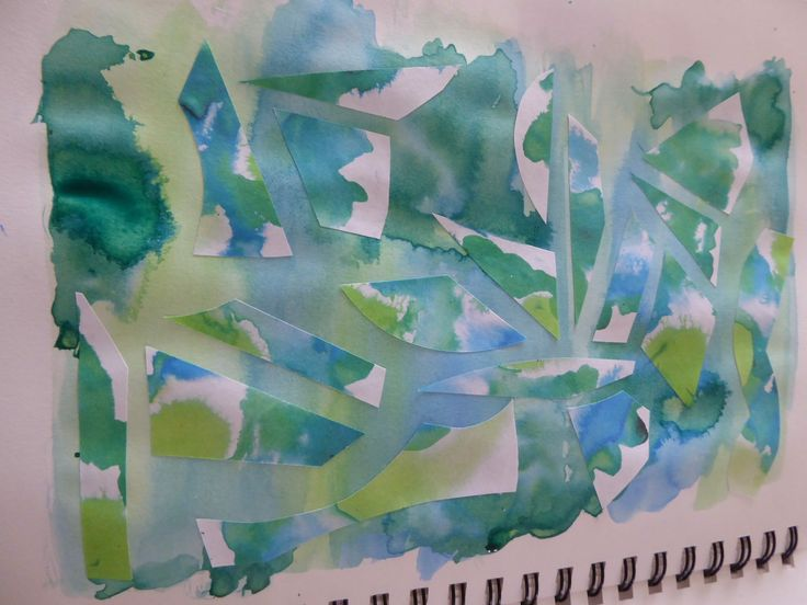 Some of my own artwork using water and ink and then cutting up a previous study and applying the this page.