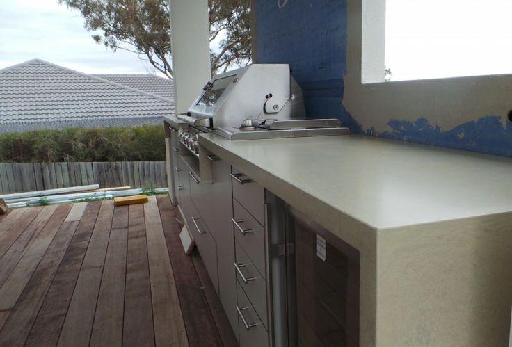 Polished Concrete Outdoor Kitchen Benchtop by Mitchell Bink Concrete Design. www.mbconcretedesign.com.au