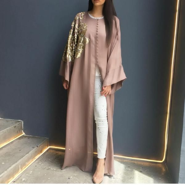 Evening Abaya in Linen with sequins