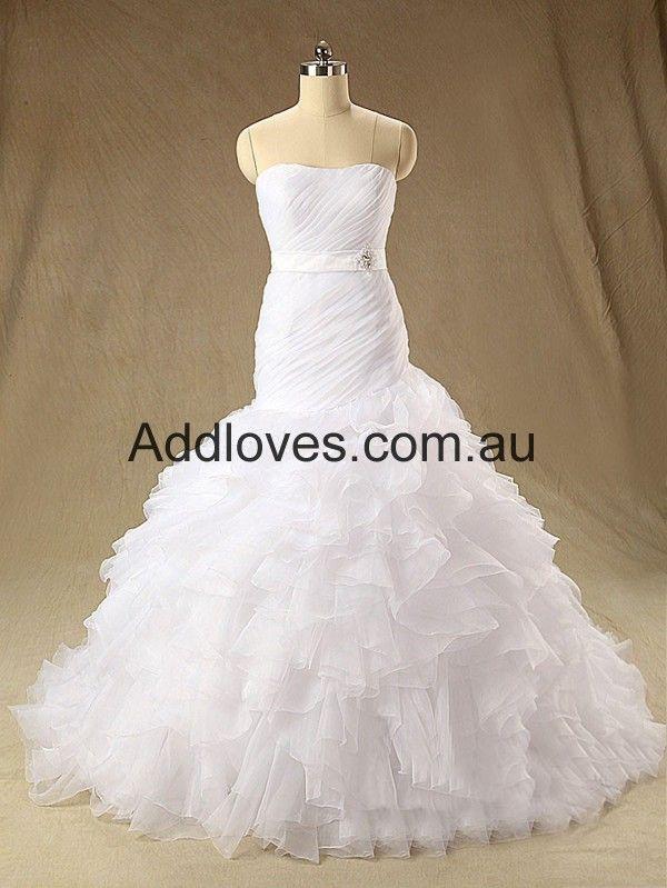 Mermaid/Trumpet Sweetheart White Organza Wedding Dresses