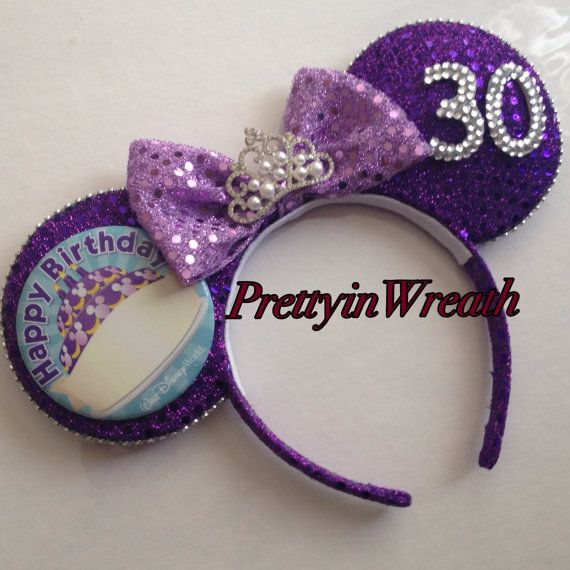 Birthday inspired Mickey Mouse ears headband by PrettyinWreath