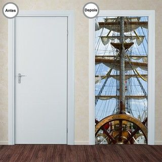 Adesivo Decorativo de Porta - Barco - 136pt